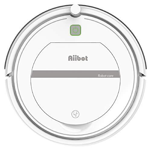 AIIBOT Aspirateur Robot avec Un Système de Nettoyage en 3 Étapes, Capteur Anti-Chute Intelligent, Filtre HEPA, Applicable aux Appartements, Petites Maisons, Sols Durs et Tapis à Poils Courts