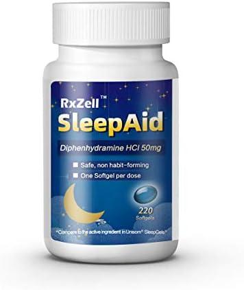 RxZell Sleep Aid Diphenhydramine HCl 50mg 220 Maximum Strength Liquid softgels Non Habit Forming product image