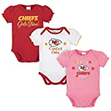 NFL Kansas City Chiefs 3 Pack Short Sleeve Bodysuit, red/White/Pink Kansas City Chiefs, 3-6 Months