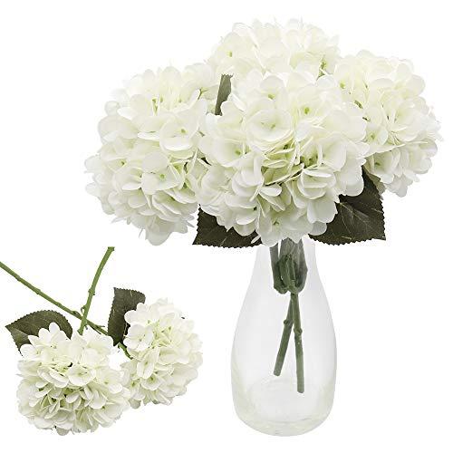 CattleyaHQ 4 teste di fiori di ortensia artificiali, Elegante bouquet di ortensie,Decorazione di fiori finti per feste / matrimoni / casa / cucina (bianca)