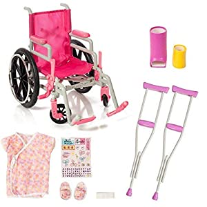 Doll injury? We're all set for special treatment! Set includes: pink doll wheelchair, doll hospital gown and slippers, crutches, arm cast, leg cast, bandage, Get Well stickers. Complement your American Girl Doll accessories with this adorable wheelch...
