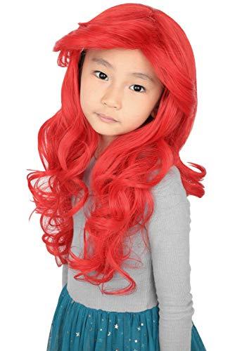 Topcosplay Ariel Wig Kids Girls Child Wig Halloween Costume Princess Cosplay Wigs Red Long Curly