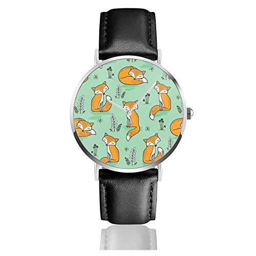 Reloj de cuero Dreamy Fox en verde unisex clásico casual moda reloj de cuarzo reloj de acero inoxidable con correa de cuero