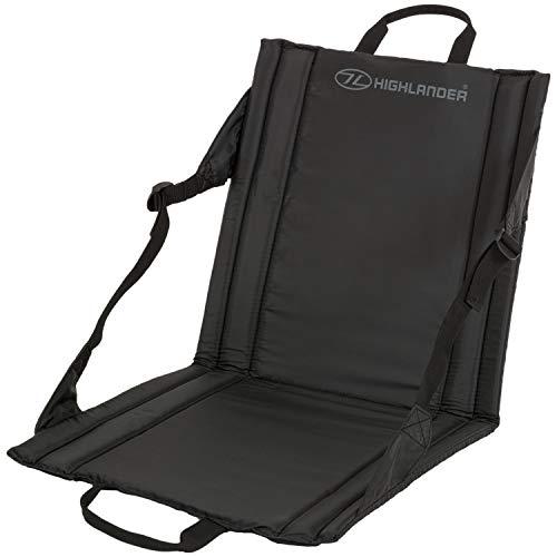 Highlander Folding Outdoor Sit Mat Lightweight Padded Portable Stadium Seat ideal for Walking Picnics Camping Hiking or Festivals Black