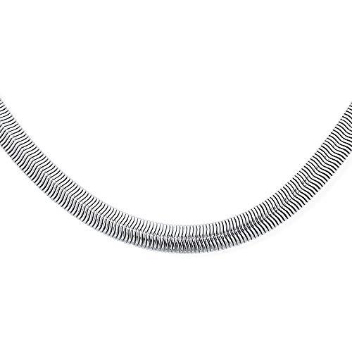 Breite Fischgrät Flache Schlange Flexible Kette Halskette Stark für Frauen Für Männer Halskette Silber Ton Edelstahl 20 Zoll