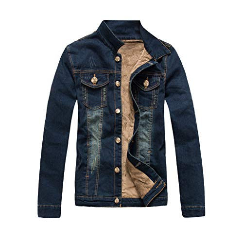 jin&Co Jean Jacket for Men Long Sleeve Button Thick Warm Distressed Vintage Shaggy Wool Denim Jacket Outercoat