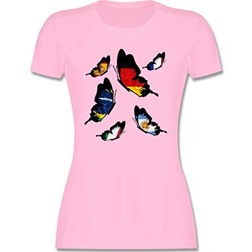 Länder - WM 2018 Länder Schmetterlinge - M - Rosa - wm 2018 - L191 - Tailliertes Tshirt für Damen und Frauen T-Shirt