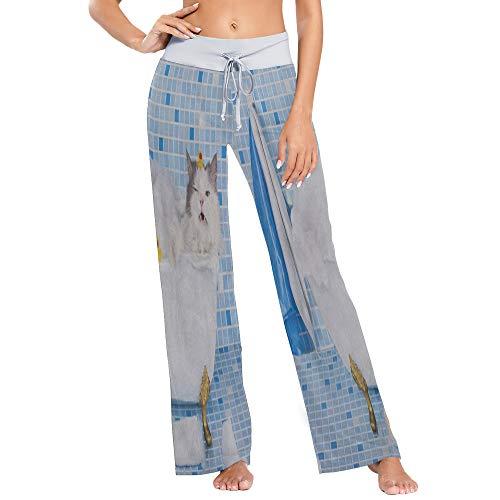 Womens Pajama Lounge Pants Hipster Cat Kitten Take Shower Wide Leg Casual Palazzo Pj Sleep Pants Laides
