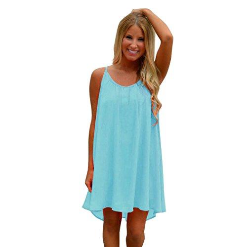 Sinma Clearance! Women Cute Chiffon Mini Dress, Summer Sexy Hollow Out Loose Sundress (XL, Blue)
