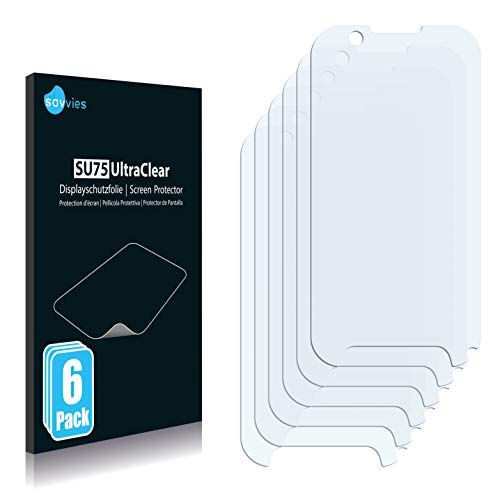 Savvies 6X Schutzfolie kompatibel mit Benefon p331 Bildschirmschutz-Folie Ultra-transparent