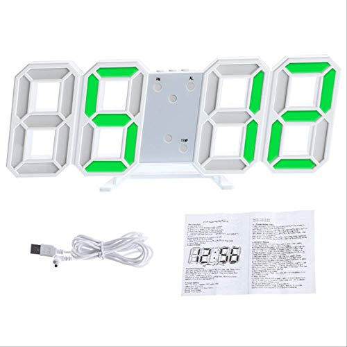 MHJF Reloj Digital Pared 3D Nightlight Display Table Relojes De Escritorio Despertador Desde La Sala De Estar 3D Reloj De Pared Digital Grande con Led 2