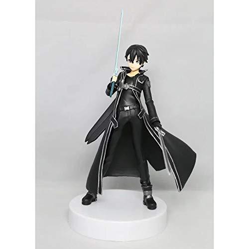 WISHVYQ Sword Art Online Anime Modelo Secuencia Batalla Kirito Kirito Kazuto Modelo Blanco Modelo Negro Versión Escultura Decoración Estatua Muñeca Modelo Juguete Altura 18cm