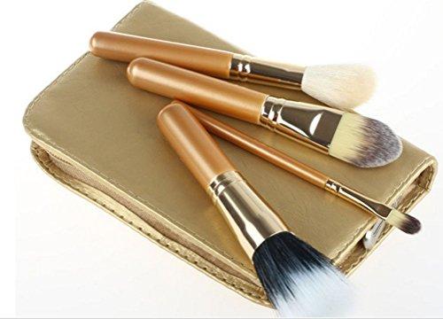 Dosige 4 pcs Set Cheveux en Nylon Artificiel Souple Pinceaux Professionnel Pinceaux de Maquillage Envoyer Un Sac de Rangement à Brosse - Or Clair