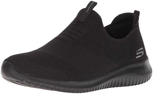 Skechers Ultra Flex-First Take, Zapatillas sin Cordones Mujer, Negro (BBK Black Knit Mesh/Trim), 38.5 EU