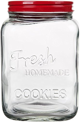 Review Of Classic Glass Cookie Jar with Red Lid, 94 oz Capacity