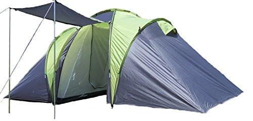 EXPLORER Zelt Sierra 6 Familienzelt mit 2 Schlafkabinen 520(180x180x180)x210x180cm 3+3 Personen 3000mm Wassersäule Ring Pin System wettergeschützter Eingang Camping Outdoor Wandern Familie