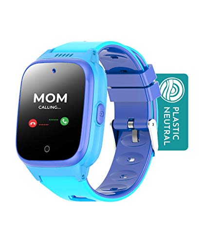 Cosmo JrTrack Kids Smartwatch - 1 Month Unlimited Data - Free SIM Card - Voice and Video Call - GPS Tracker - SOS Alerts - Water Resistant - Blocks Unknown Numbers - Blue