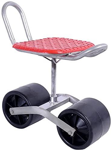 SKYWPOJU Patinete de jardín con asiento giratorio,2 ruedas,asiento giratorio ajustable de 360 grados para deshierbar,jardinería y mantenimiento de césped al aire libre,carro de jardín con asiento ro