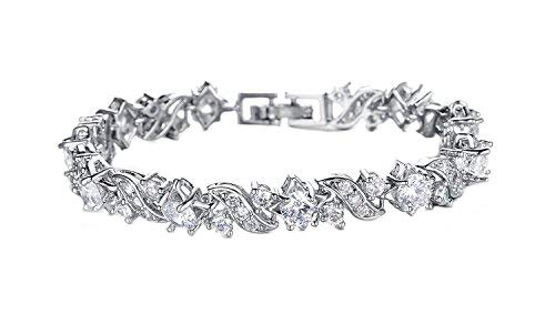 Yellow Chimes Crystals from Swarovski Glimmering Diamonds Silver Bracelet for Women