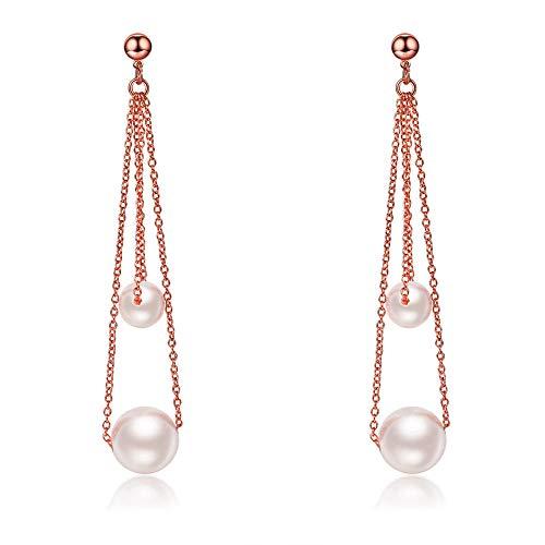 Personalidad de moda pendientes de doble capa borla pendientes largos de perlas pendientes mujer temperamento simple joyería-oro rosa