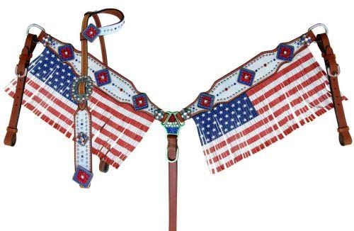 Showman American Flag Fringed Headstall & Breast Collar Set w/Reins! New Horse TACK!