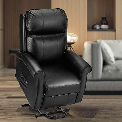 Esright Electric Power Lift Recliner Chair, Faux Leather Electric Recliner for Elderly with Heated Vibration Massage, Side Pocket...