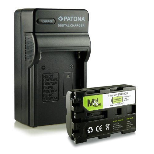 3in1 Ladegerät mit Akku NP-FM500H kompatibel mit Sony Alpha DSLR-A300 DSLR-A500 DSLR-A700 DSLR-A850 DSLR-A900 SLT-A57 SLT-A58