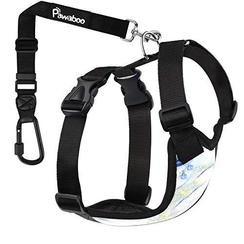 Pawaboo Hundegeschirr für Hund im Auto, Geschirr mit verstellbar Sicherheitsgurt and Stark Karabinerhaken, Luftdurchlässig Gittergewebe, Einfache Steuerung für Fahrsicherheit, Klein, Blau Marmor