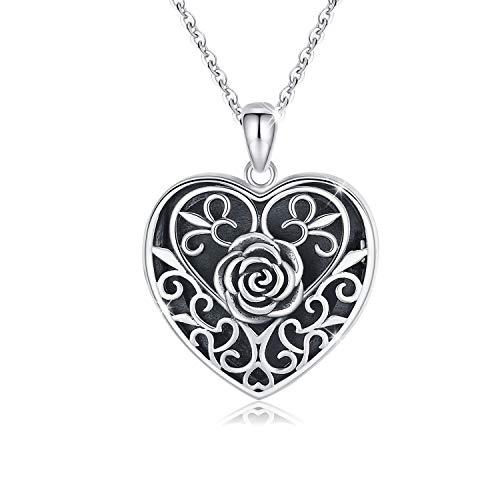 Medaillon 925 Oxid Silber Rose Blume Anhänger mit Kette Damen Amulett zum öffnen für Bilder Poto Halskette für Frauen Valentinstag Jahrestag Geschenk für sie,Mutter