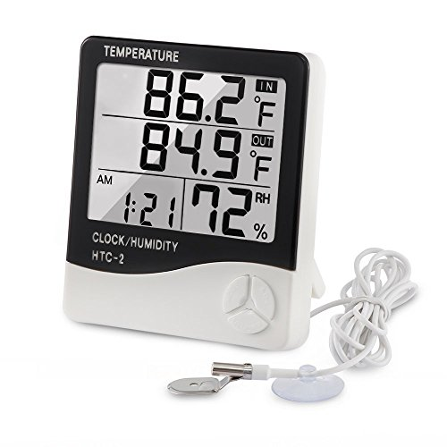 Digital Thermometer Hygrometer Indoor Outdoor Temperature Meter Humidity Monitor with LCD Alarm Clock, 1M Probe Cord Temperature Humidity Gauge for Bedroom Greenhouse Garage Warehouse,Fahrenheit or Ce