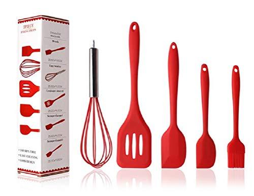 Hillento Utensilios de cocina de silicona Set Utensilios de cocina Utensilios de cocina de silicona 5PCS Conjunto de cepillo Espátulas Herramientas de cocina, y al uso limpio, Rojo