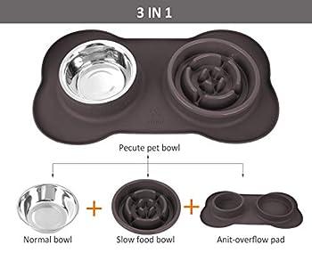 Pecute Gamelle Anti Glouton Chien Chat 3 en 1, Gamelle d'alimentation Lente avec Base Antidérapante, favorise Une Alimentation Saine et Une Digestion Lente, pour Petit Moyen Animal Domestique(Gris)