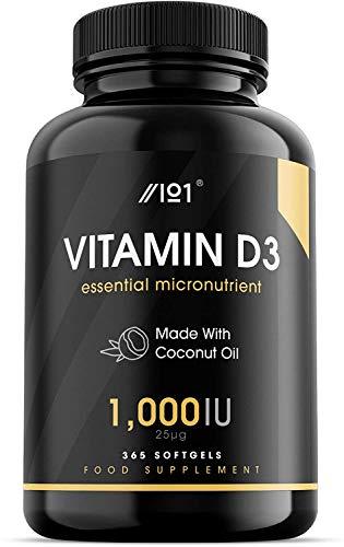 Vitamin D3 (1000iu/25mcg) Enhanced with Organic Coconut Oil for Better Absorption ~ Non-GMO & Gluten Free (365 Mini Liquid Softgels)