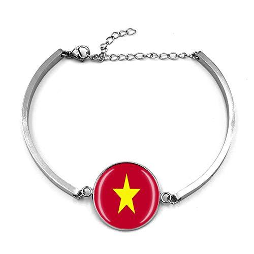 Pulsera de la bandera de Vietnam con cadena de metal y cristal, pulsera de acero inoxidable para hombre y mujer