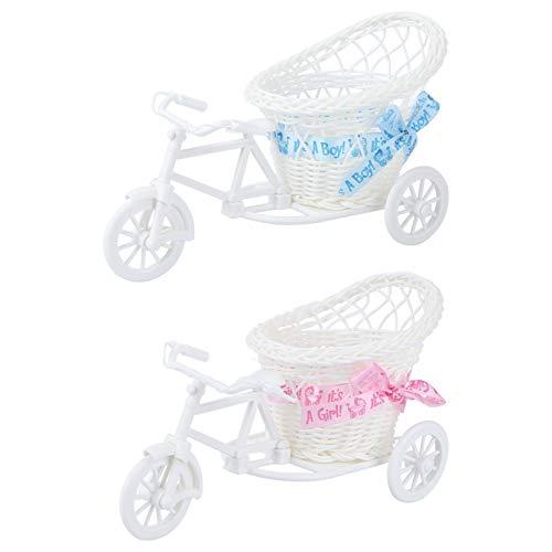 Amosfun 2 Stück Mini-Fahrrad-Blumenständer, handgewebter Korb, Vase, Dreirad, Pflanzenständer, Blumentopf-Halter für Hochzeitszimmer, Garten, Terrasse, Dekoration (weiß)