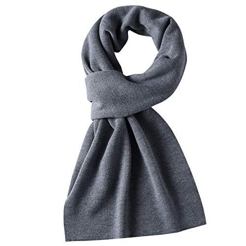 DOVAVA Schal Herren,30% Merinowolle Herrenschal Winter,Weiche Warm Kaschmir Schal in 4 Farbe(Mit Geschenkbox) (Grau)