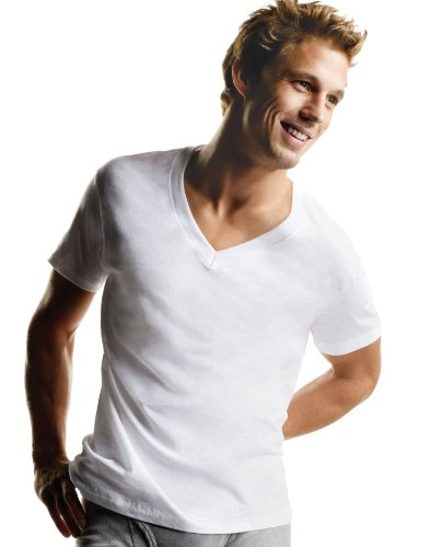 Hanes Men's 5pk V-Neck T-Shirt - White 2XL