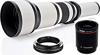 High-Power 650mm-2600mm f/8 Manual Telephoto Lens for Canon EOS 80D EOS 90D Rebel T3i T5 T5i T6i T6s T7 T7I T8I SL3 EOS 60D EOS 70D 5D EOS5D IV EOS 6D II EOS 7D II SLR Cameras - White