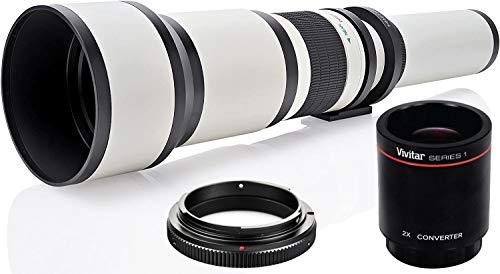 Long-Range 650mm-2600mm f/8 Telephoto Zoom Lens for Nikon DF, D3100, D3200, D3300, D5000, D5100, D5200, D5300, D5500, D7000, D7100, D7200, D300s, D600, D610, D700, D750, D800, D800e, D810, SLR Cameras