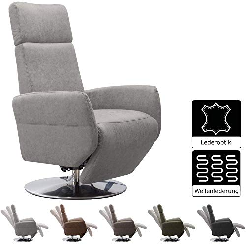 Cavadore TV-Sessel Cobra / Fernsehsessel mit Liegefunktion, Relaxfunktion / Stufenlos verstellbar / Ergonomie L / Belastbar bis 130 kg / 71 x 112 x 82 / Lederoptik Hellgrau