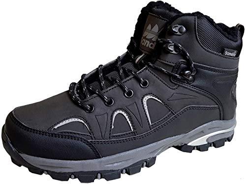 gibra Herren Trekkingschuhe Trekking Stiefel Übergröße, warm gefüttert, rutschfeste Sohle, Art. 9075, schwarz, Gr. 47