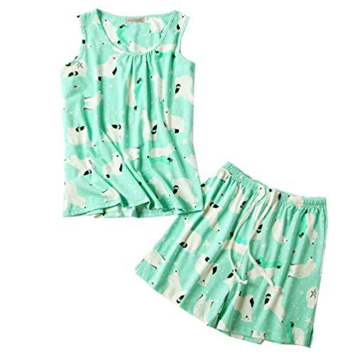 ENJOYNIGHT Conjunto de pijama sin mangas con estampado y pantalones cortos para mujer - - XL