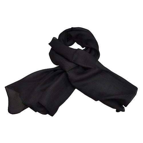 TOUTACOO, Foulard Carré 100% Soie .Noir - Couleur 01-Noir