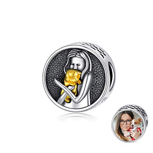 LONAGO Personalized Photo Charm Fit Pandora Charm Bracelet 925 Sterling Silver Round Shaped Custom Picture Bead Charm (Girl Hold Dog)