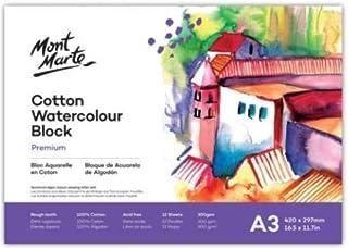 Mont Marte Cotton Watercolour Paper Block 300gsm A3 12 Sht