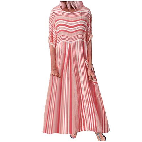 Vectry Damen Langes Kleid Kurzarm Plaid Print Maxikleider Sommerkleid A-Line Swing Kleid Freizeitkleid Abendkleid Loses Partykleid Strandkleider Übergröße Baumwoll-Leinenkleid (XXL, Z-Rot-1)