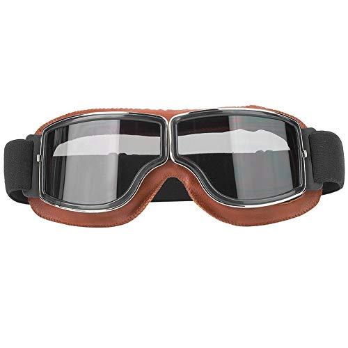 Tbest Vintage Motorradbrille, braune Klappsonnenbrille für den Außenbereich Motorradbrille für Motorradfahrer Sportliche Reitsonnenbrille(Graue Linse)