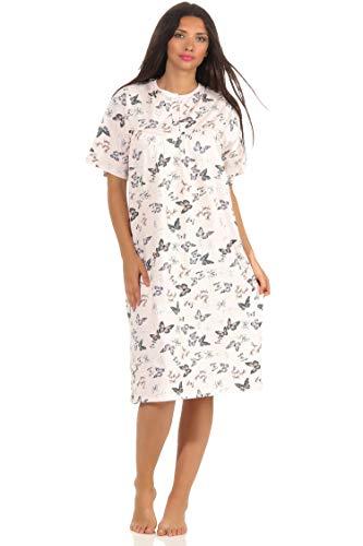 NORMANN-Wäschefabrik Damen Nachthemd Kurzarm Schmetterlinge als Design mit Knopfleiste am Hals - 102 210 90 106, Farbe:rosa, Größe:44/46