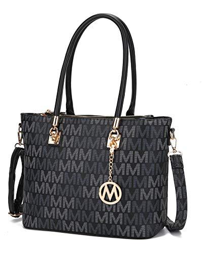 Mia K Collection Crossbody Shoulder Handbag for Women, PU Leather Pocketbook Top-Handle Purse Tote-Satchel Bag Black