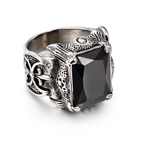 NELSON KENT Herren Retro Intarsien Schwarz Zirkon Titan Stahl Silber Ringe Größe62(19.7)